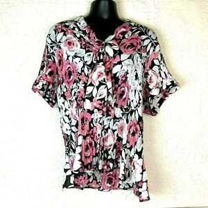 Sunny Leigh Pussybow Shirt Plus 3X Floral Blouse